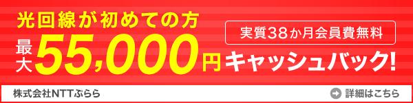 NTTぷららISPキャンペーンバナー55000円キャッシュバック